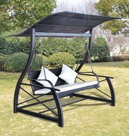 vidaXL Schommelbank voor in de tuin poly rattan zwart 167x130x178 cm