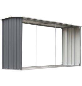 vidaXL Haardhoutschuur 330x92x153 cm gegalvaniseerd staal grijs