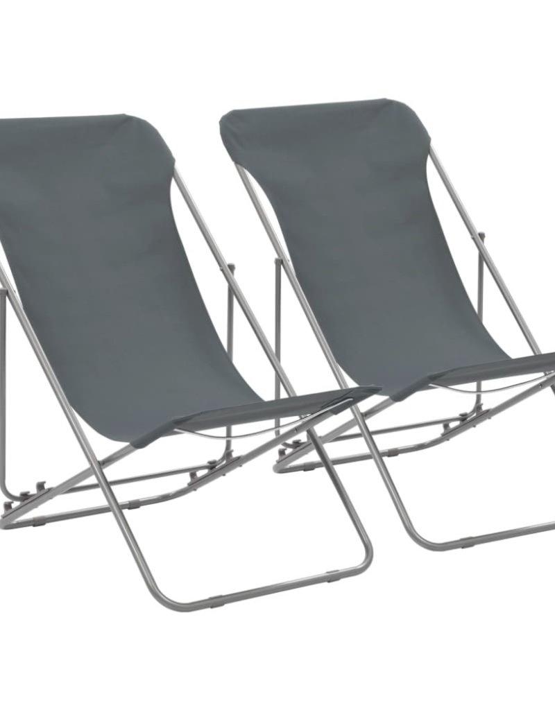 Kleine Inklapbare Strandstoel.Vidaxl Strandstoelen Inklapbaar 2 St Staal En Oxford Stof Grijs