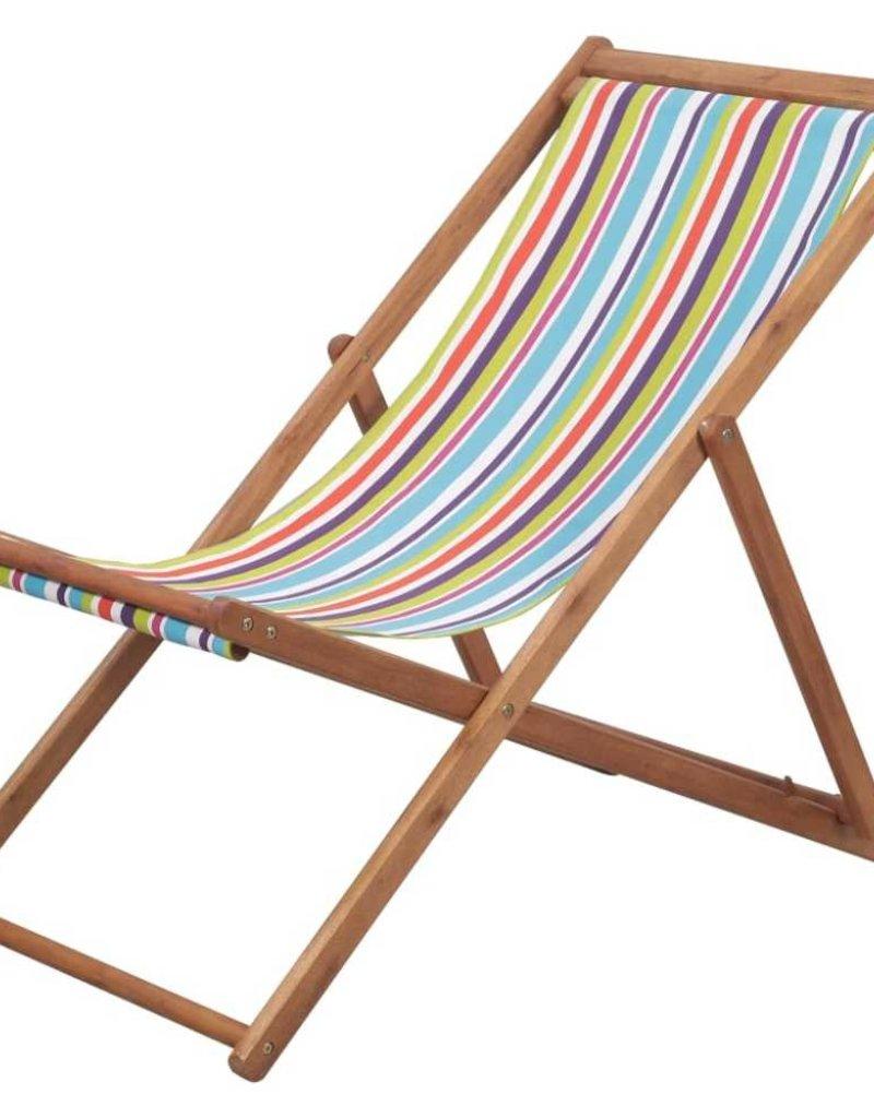 Kleine Inklapbare Strandstoel.Vidaxl Strandstoel Inklapbaar Stof En Houten Frame Meerkleurig