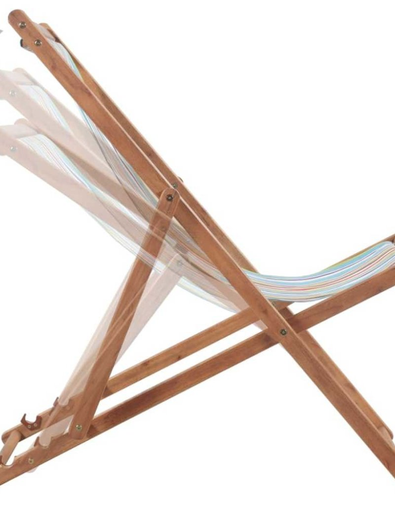 Strandstoel Met Houten Frame.Vidaxl Strandstoel Inklapbaar Stof En Houten Frame Meerkleurig