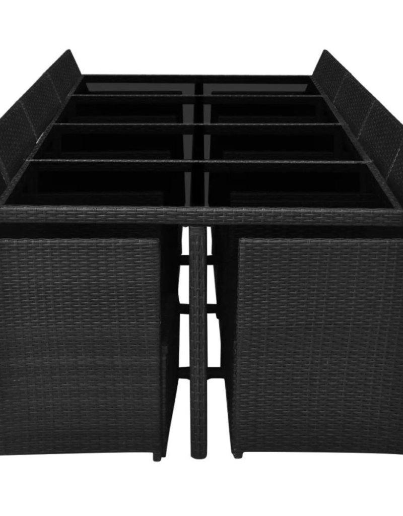 Wicker Eettafel Set Met 8 Stoelen En 4 Krukken Zwart.Vidaxl 13 Delige Tuinset Met Kussens Poly Rattan Zwart Tuinshop