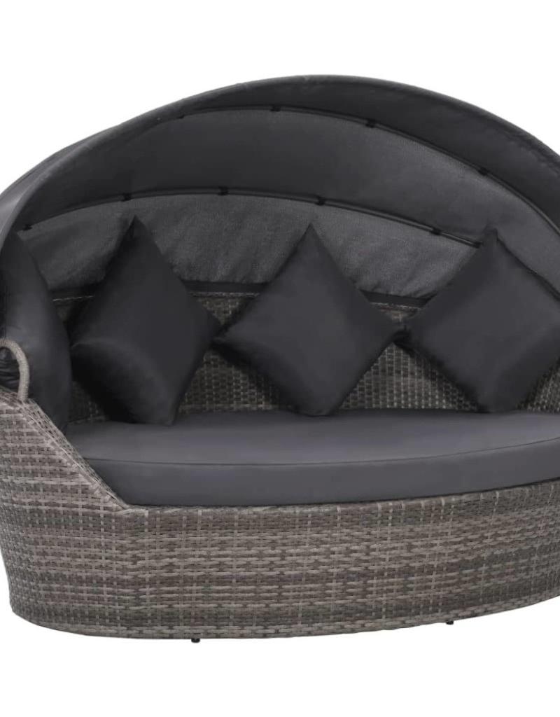 Bekend vidaXL Ligbed met luifel 200x120 cm poly rattan grijs - Tuinshop HQ17