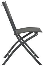 vidaXL 7-delige Tuinset inklapbaar staal en textileen grijs
