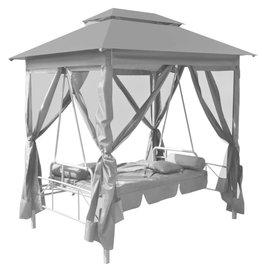 vidaXL Tuinschommelstoel met luifel 220x160x240 cm staal antraciet