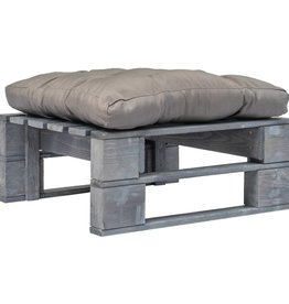 vidaXL Pallet poef met grijs kussen FSC hout grijs