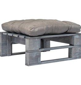 vidaXL Tuinpoef met grijs kussen pallet hout grijs