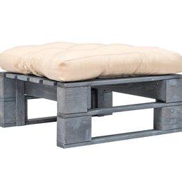 vidaXL Tuinpoef met zandkleurig kussen pallet hout grijs