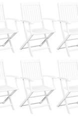 vidaXL 7-delige Tuinset inklapbaar massief acaciahout wit