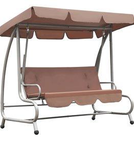 vidaXL Schommelstoel voor buiten met luifel koffiekleurig