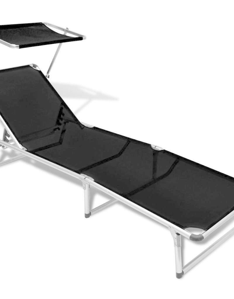 Bekend vidaXL Ligbed inklapbaar met dak aluminium en textileen zwart BT89