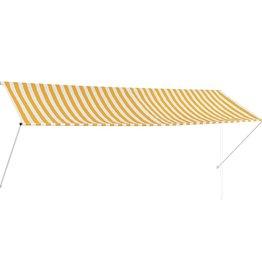 vidaXL Zonwering uitschuifbaar 350x150 cm geel en wit