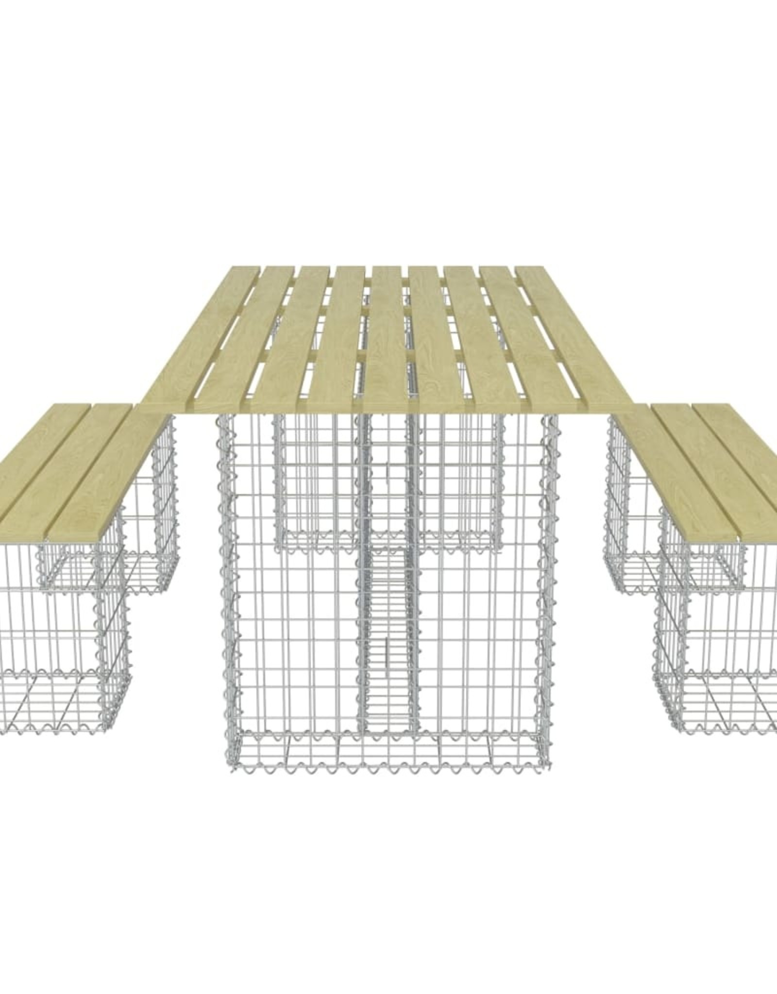 vidaXL 3-delige Tuinset met stalen gabion grenenhout