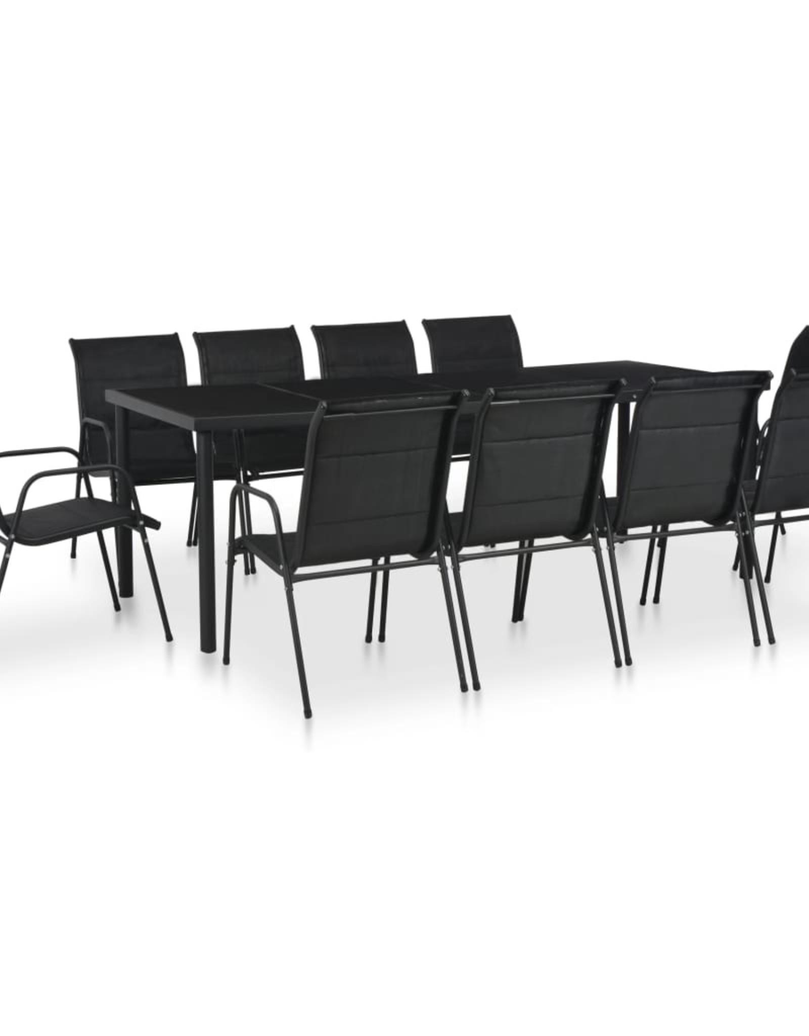 vidaXL 11-delige Tuinset staal zwart