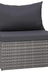 vidaXL 7-delige Loungeset met kussens poly rattan grijs