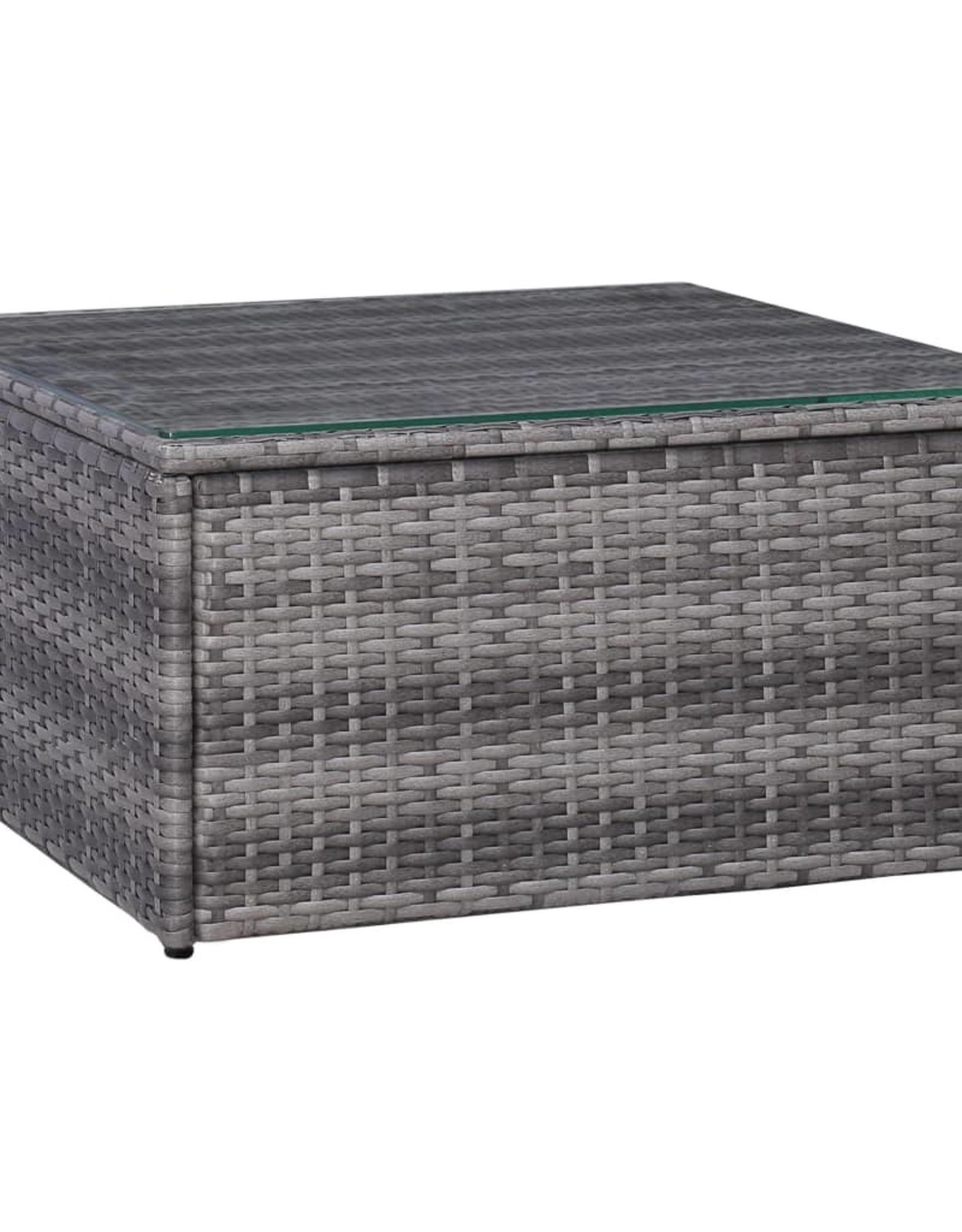 vidaXL 5-delige Loungeset met kussens poly rattan grijs