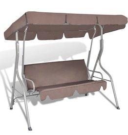 vidaXL Hang schommelstoel met luifel voor buiten (koffie kleur) 3 personen
