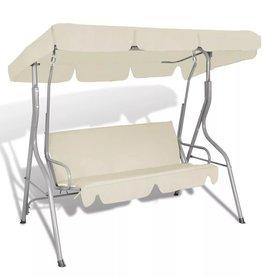 vidaXL Hang schommelstoel met luifel voor buiten (zand wit) 3 personen