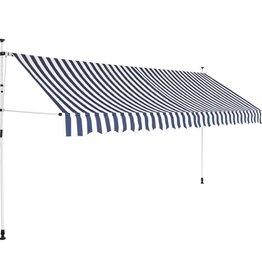 vidaXL Luifel handmatig uitschuifbaar 350 cm blauw en witte strepen