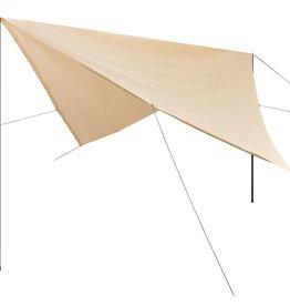 vidaXL Zonnescherm tarp met palen vierkant 5x5 m HDPE crème