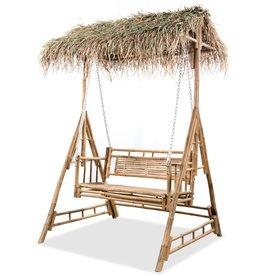 vidaXL Schommelbank met palmbladeren 2-zits 202 cm bamboe