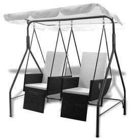 vidaXL Schommelstoel met 2 zitjes verstelbaar poly rattan zwart