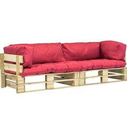 vidaXL 2-delige Tuinbankenset pallet met rode kussens FSC grenenhout