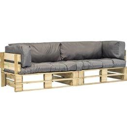vidaXL 2-delige Tuinbankenset pallet met grijze kussens FSC grenenhout
