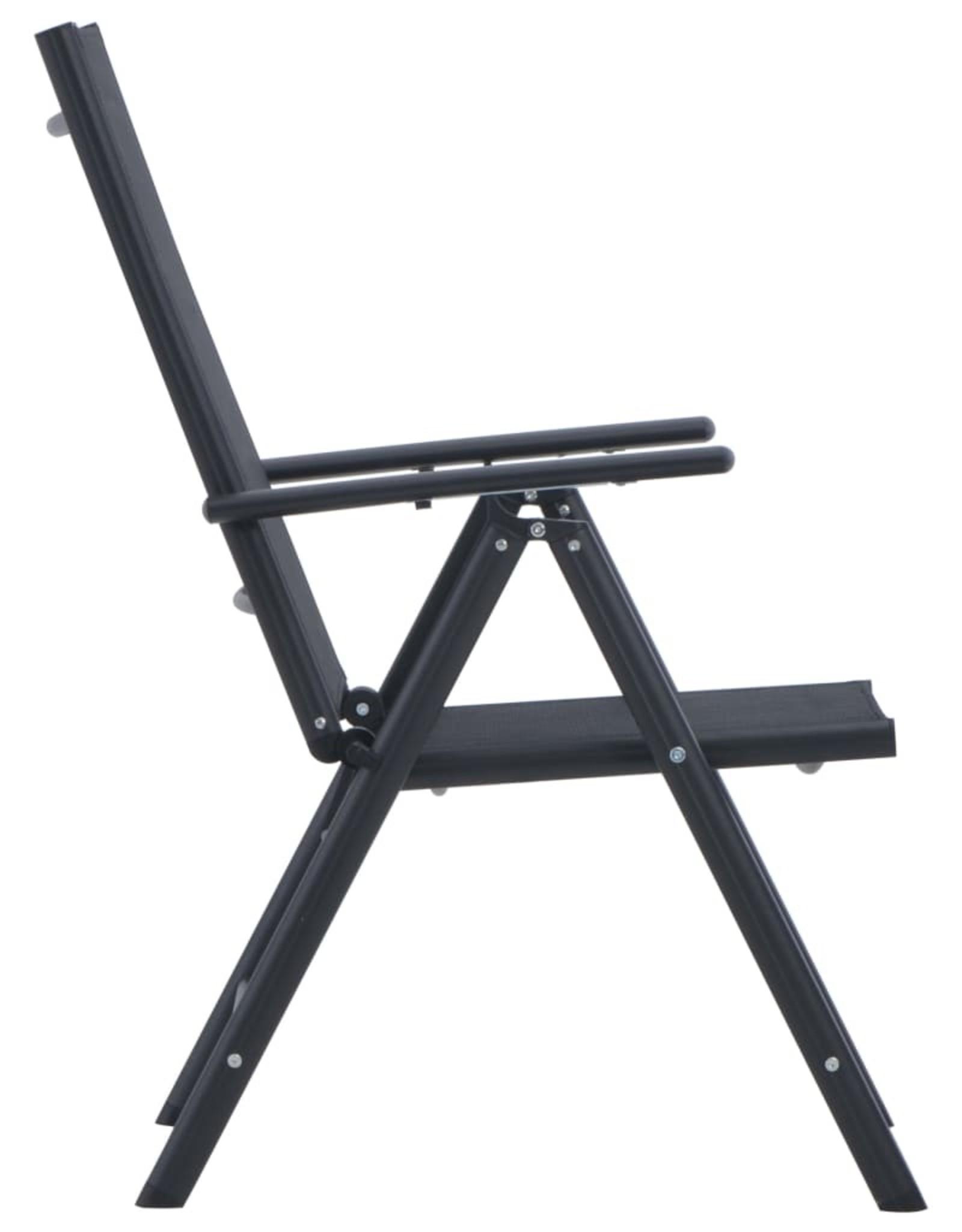 vidaXL 3-delige Bistroset aluminium en textileen zwart