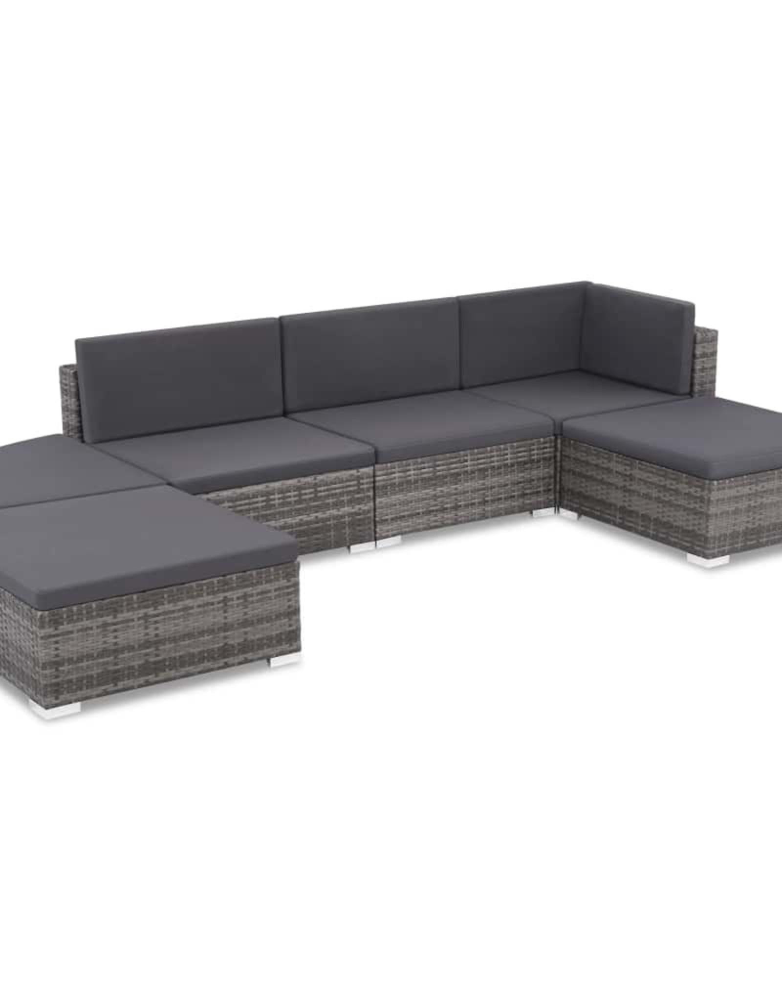 vidaXL 6-delige Loungeset met kussens poly rattan grijs