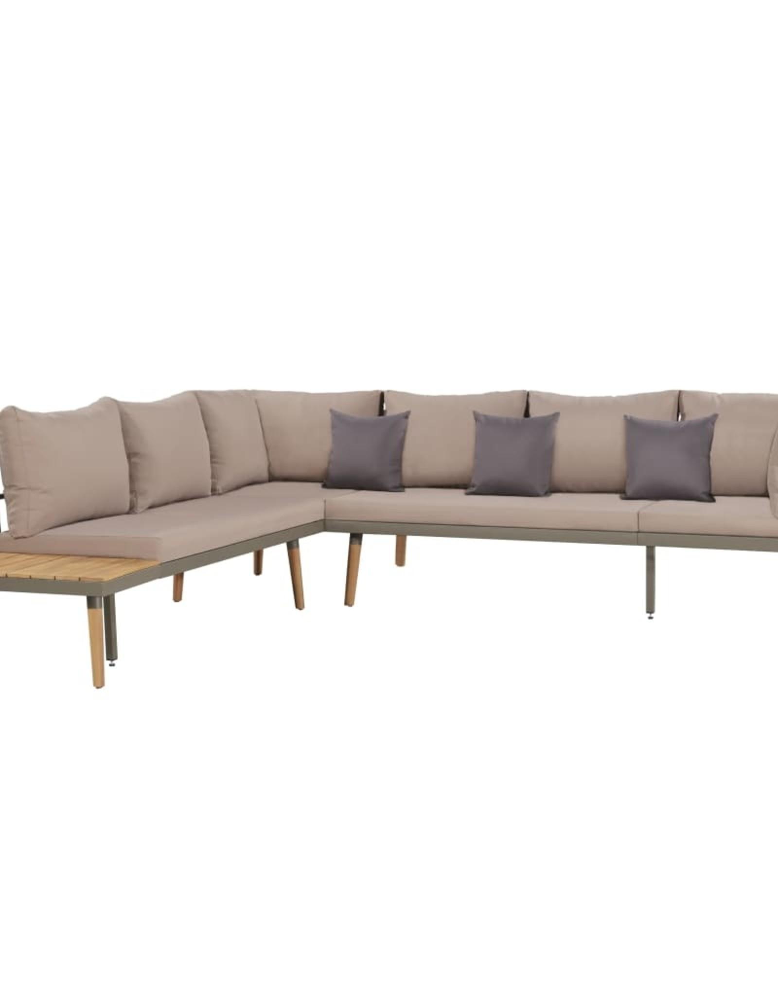 vidaXL 4-delige Loungeset met kussens massief acaciahout bruin