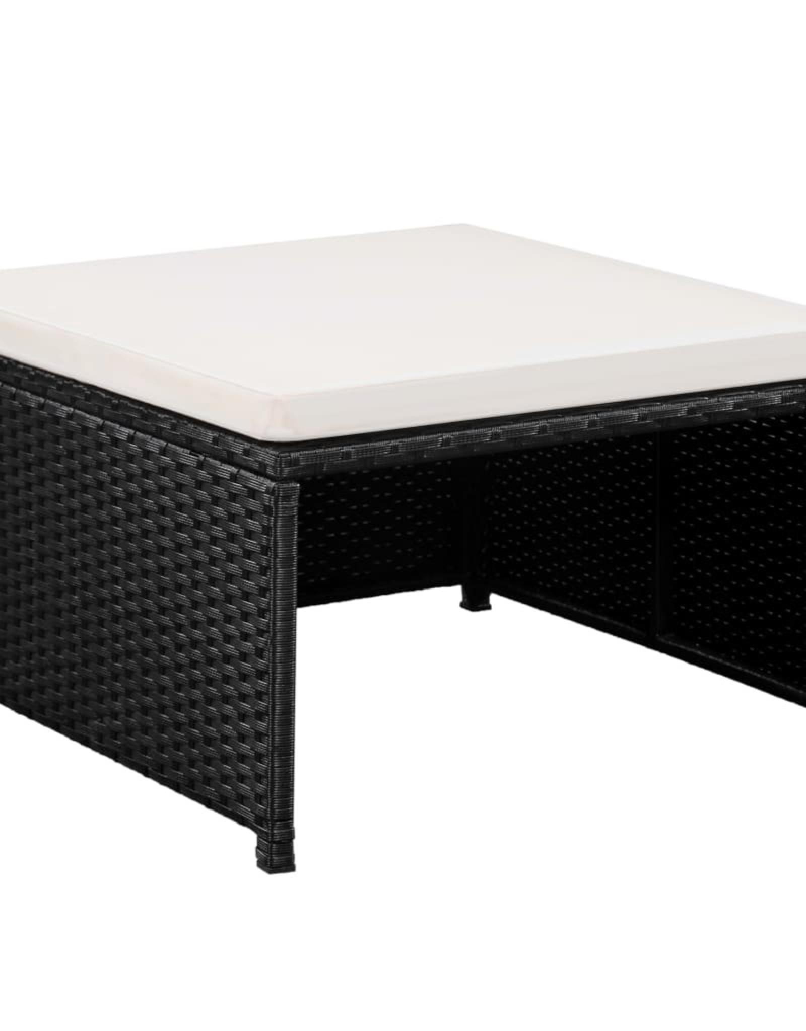 vidaXL 12-delige Loungeset met kussens poly rattan zwart