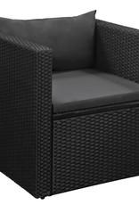 vidaXL 4-delige Loungeset poly rattan zwart en grijs