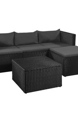 vidaXL 3-delige Loungeset poly rattan zwart en grijs