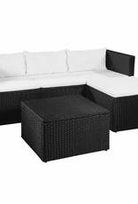 vidaXL 3-delige Loungeset poly rattan zwart en wit