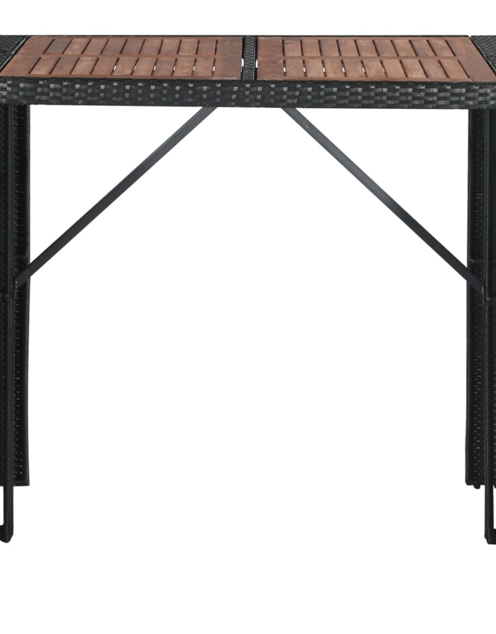vidaXL 5-delige Tuinbarset poly rattan en acaciahout zwart