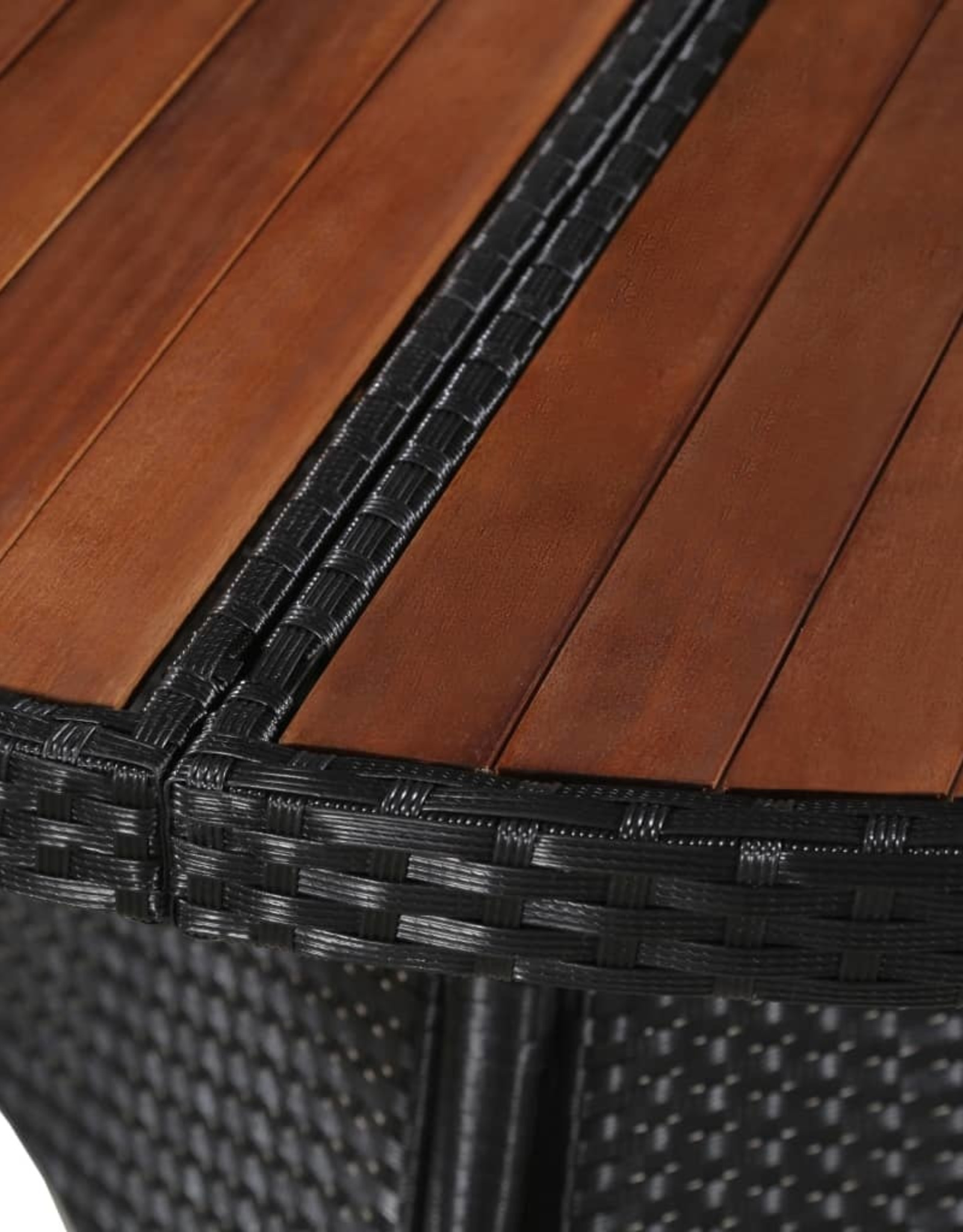 vidaXL 11-delige Tuinset poly rattan en acaciahout zwart