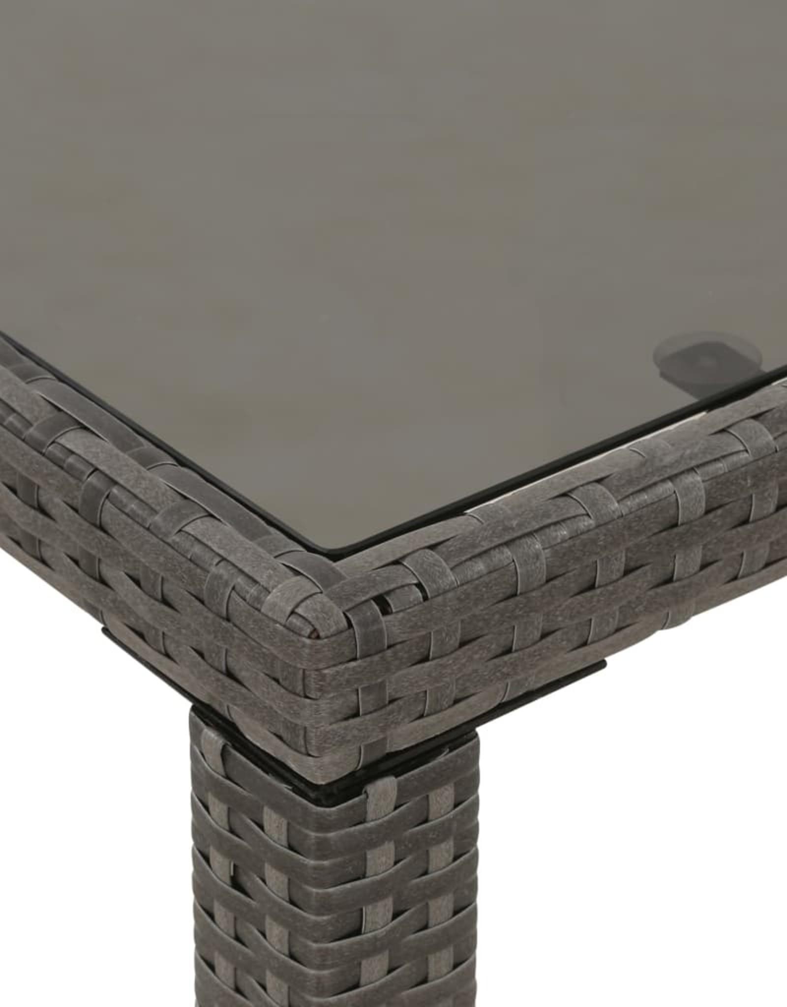 vidaXL 6-delige Tuinset met kussens poly rattan grijs