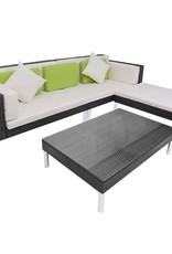 vidaXL 4-delige Loungeset met kussens poly rattan zwart