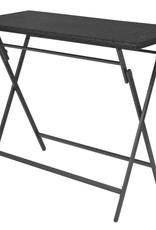 vidaXL 7-delige Tuinset inklapbaar staal poly rattan zwart