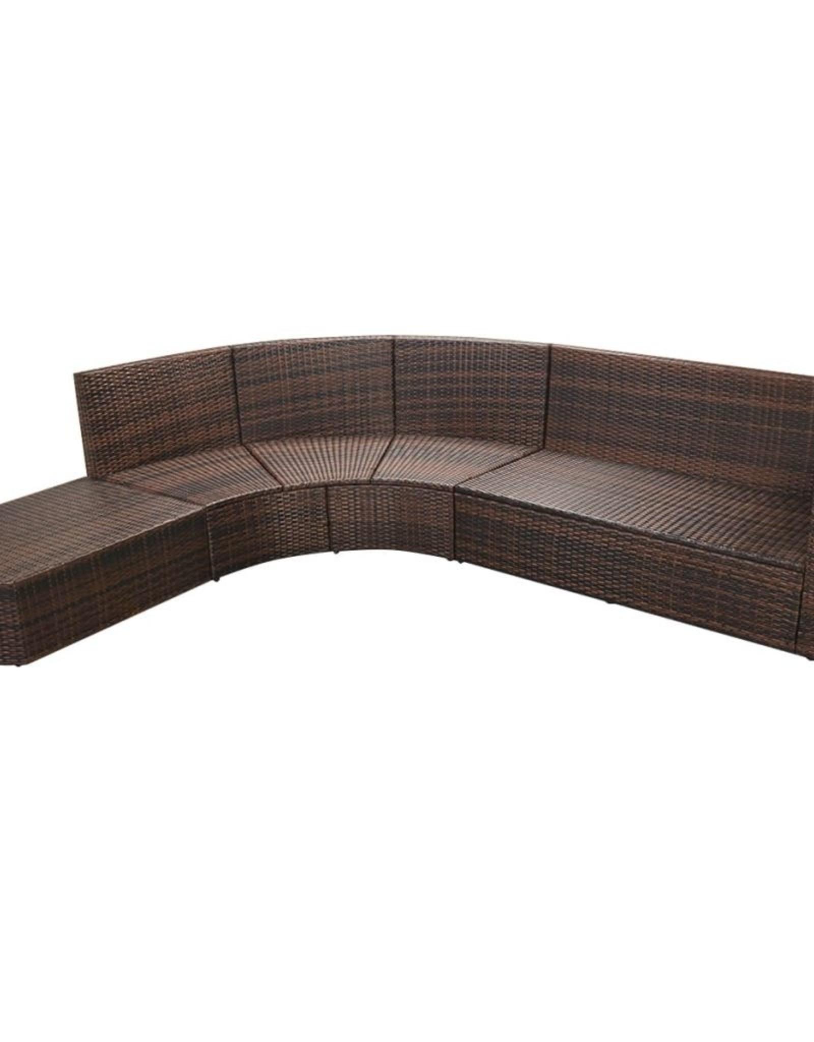 vidaXL 4-delige Loungeset met kussens poly rattan bruin