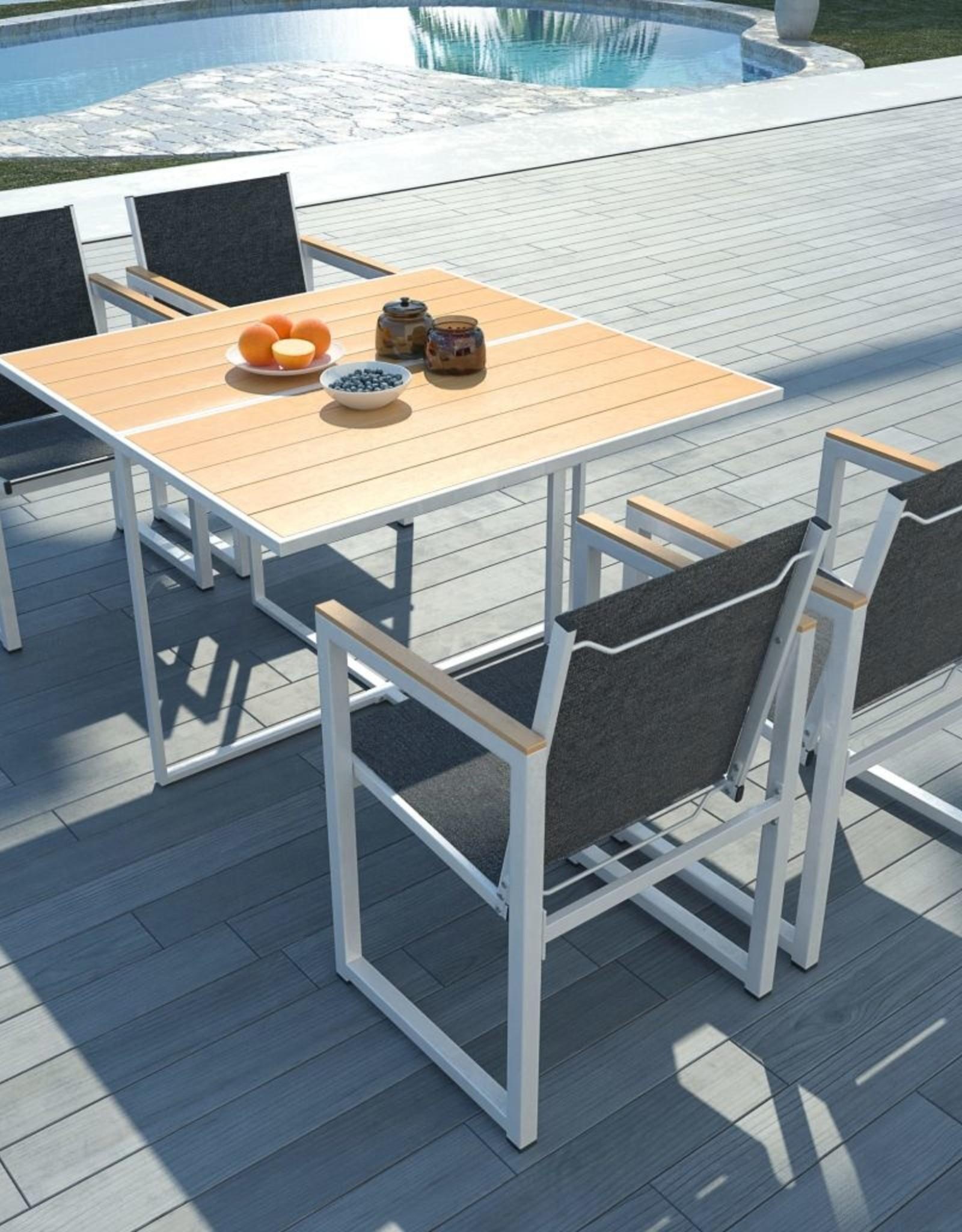 vidaXL 5-delige Tuinset met HKC tafelblad aluminium