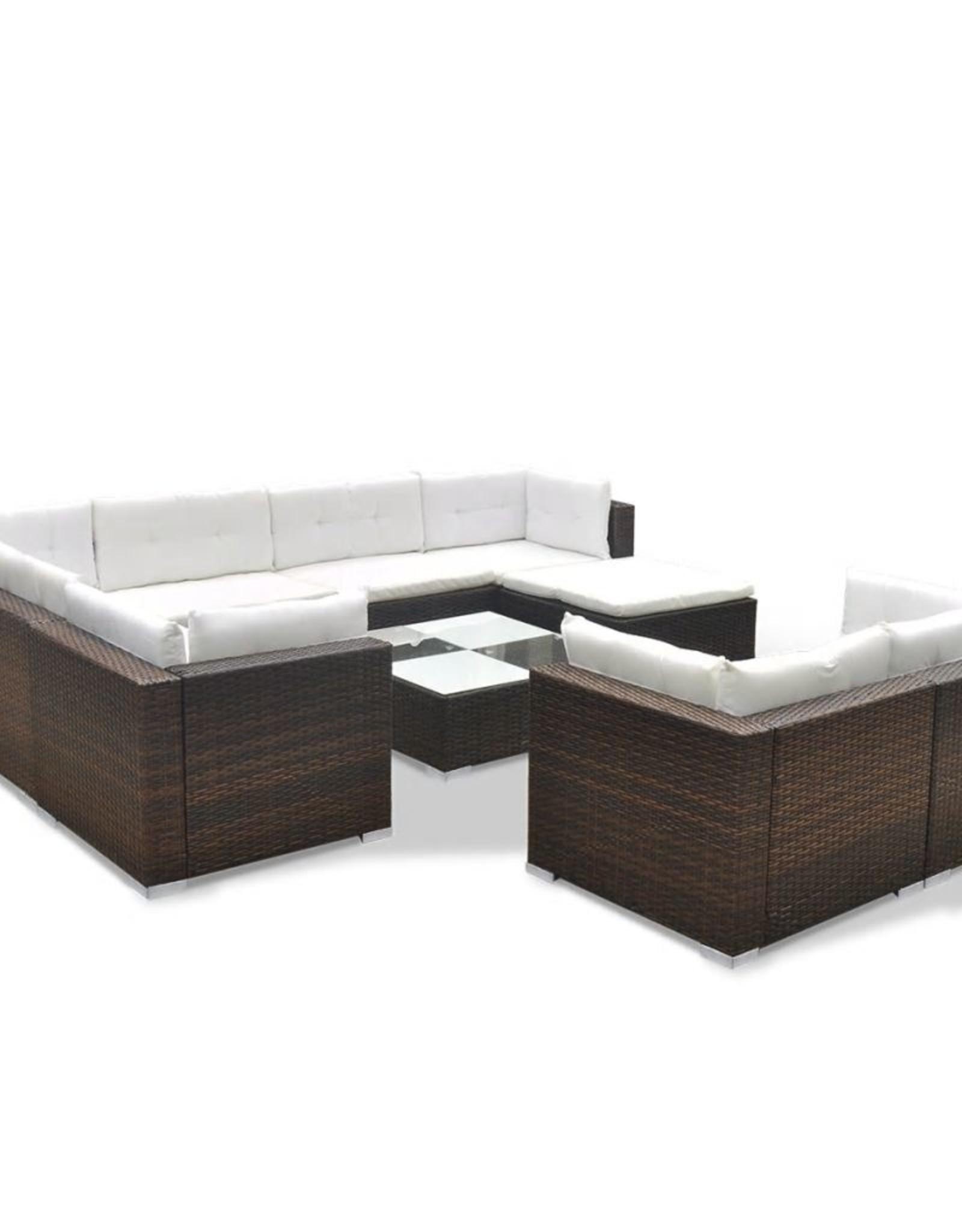 vidaXL 10-delige Loungeset met kussens poly rattan bruin