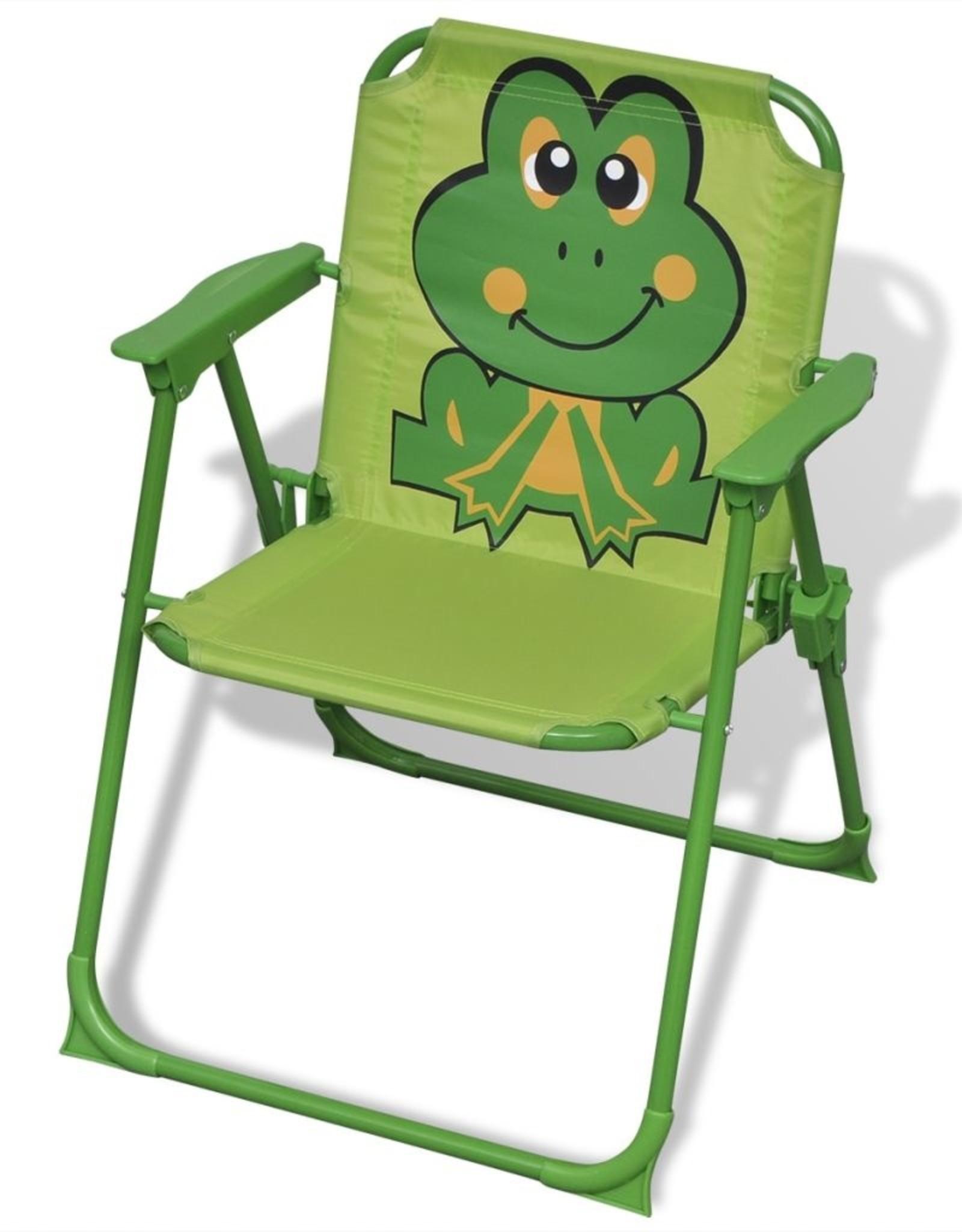 vidaXL 3-delige Bistroset voor kinderen met parasol groen
