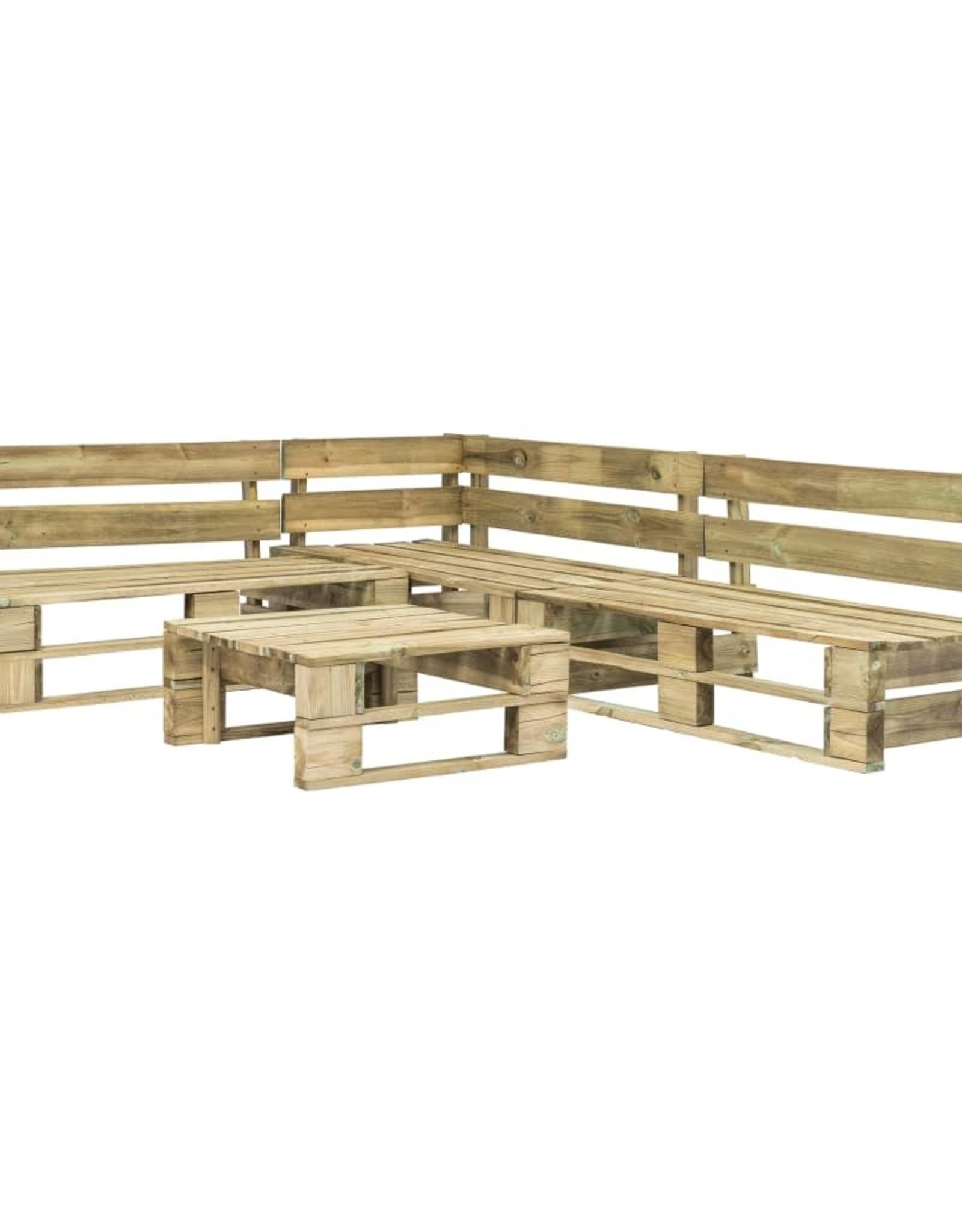 vidaXL 4-delige Loungeset pallet hout