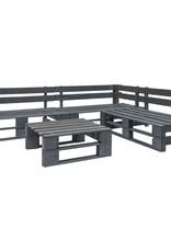 vidaXL 4-delige Loungeset pallet met grijze kussens hout