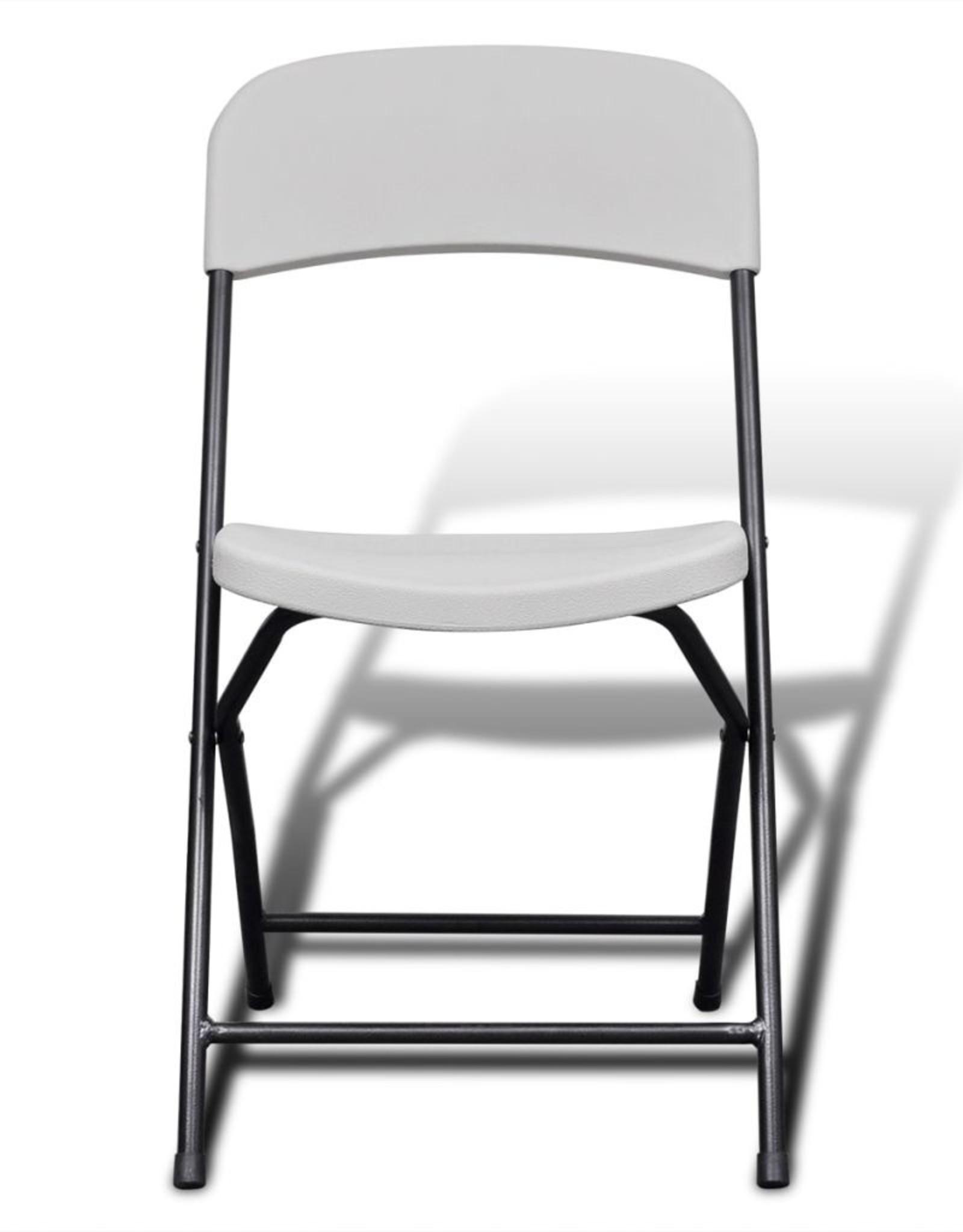 vidaXL 5-delige Tuinset inklapbaar 122 cm HDPE wit