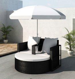 vidaXL Loungebed set poly rattan met parasol (zwart)