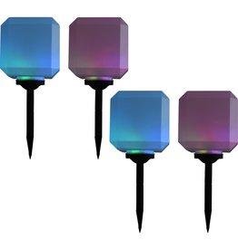vidaXL Solarlampen 4 st LED kubus 20 cm RGB