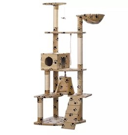 vidaXL Kattenkrabpaal Jaapie 191 cm (beige) met pootafdrukken